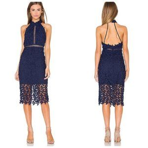 NWT Bardot  Gemma Halter Lace Sheath Blue Dress 6